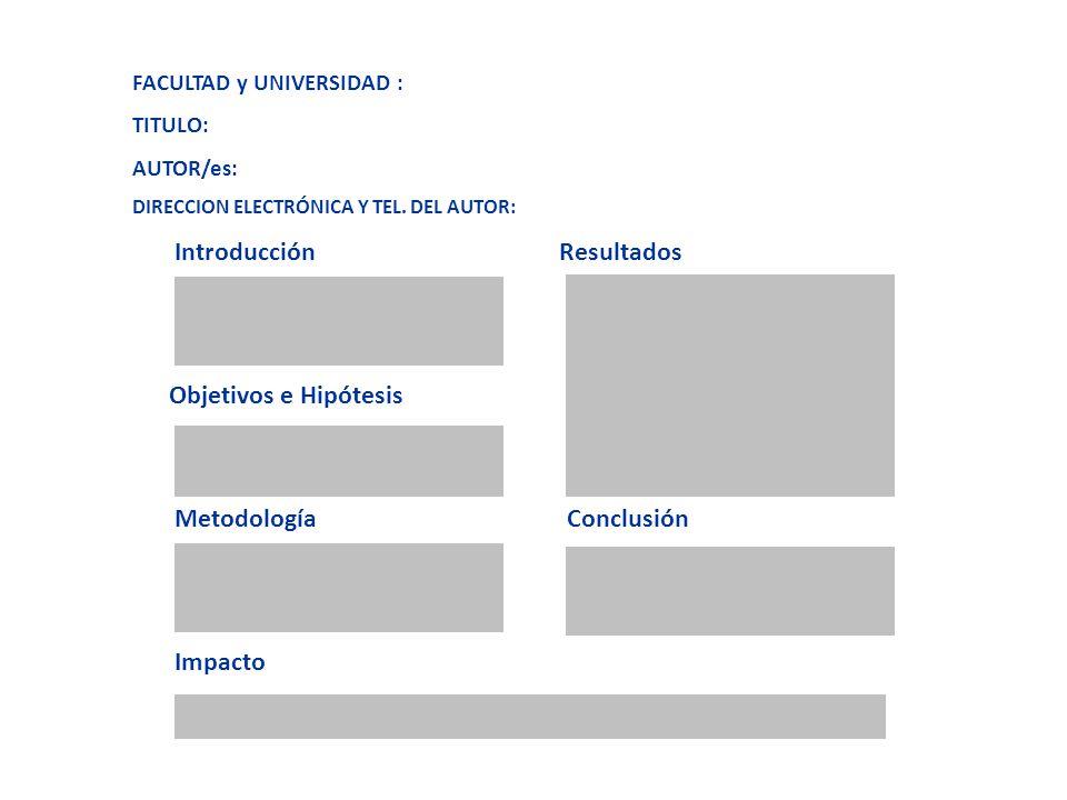 FACULTAD y UNIVERSIDAD : TITULO: AUTOR/es: DIRECCION ELECTRÓNICA Y TEL. DEL AUTOR: Introducción Resultados Objetivos e Hipótesis Metodología Conclusió