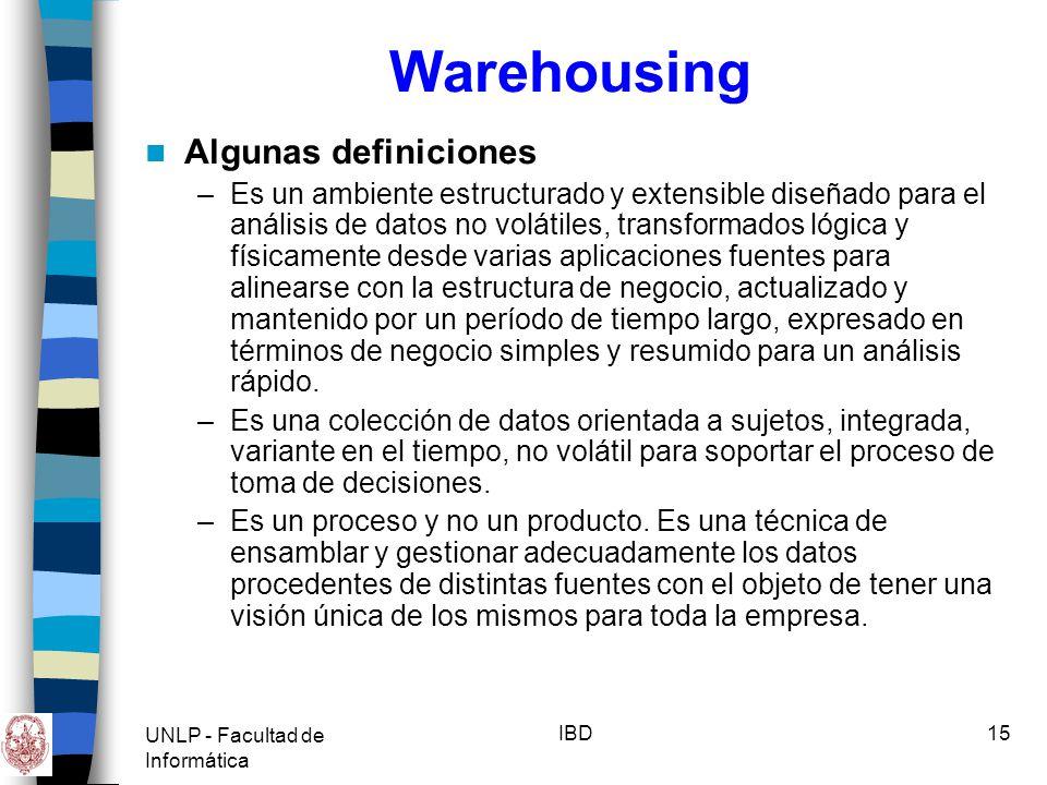 UNLP - Facultad de Informática IBD16 Warehousing Componentes –BD de datos fuentes (producción) –BD con datos resumidos (DW) –Interfases de acceso (consultas, reportes, análisis multidimensional, Data Mining) Elementos que participan en la construcción de un DW –Recursos Humanos –Metodología de trabajo –Herramientas de Hardware y software –Infraestructura de la organización en general