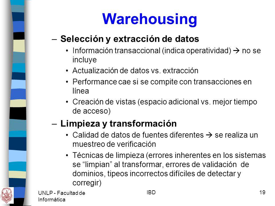 UNLP - Facultad de Informática IBD20 Warehousing Data scrubbing: proceso de filtrado, decodificación y traducción de datos fuentes para crear datos validados Homogeneizar tipos de datos Valores por defecto inteligentes Períodos de tiempo completos.