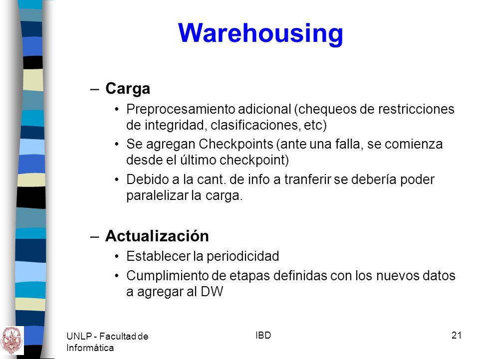 UNLP - Facultad de Informática IBD22 Warehousing Data Marts –Satisfacen necesidades específicas de un área.