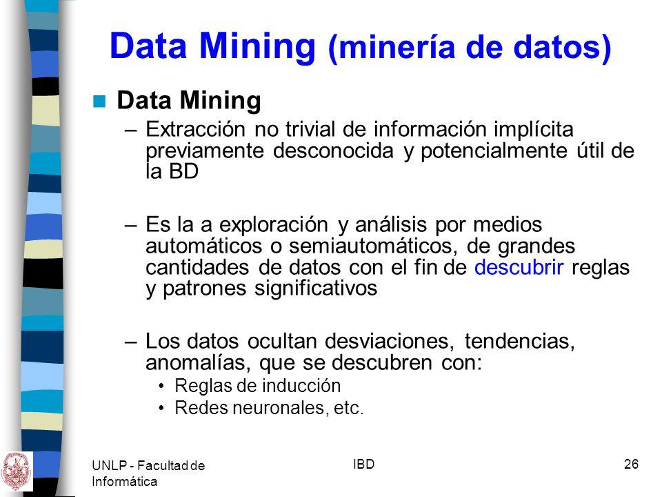 UNLP - Facultad de Informática IBD27 Data Mining (minería de datos) Porqué Data Mining ahora.