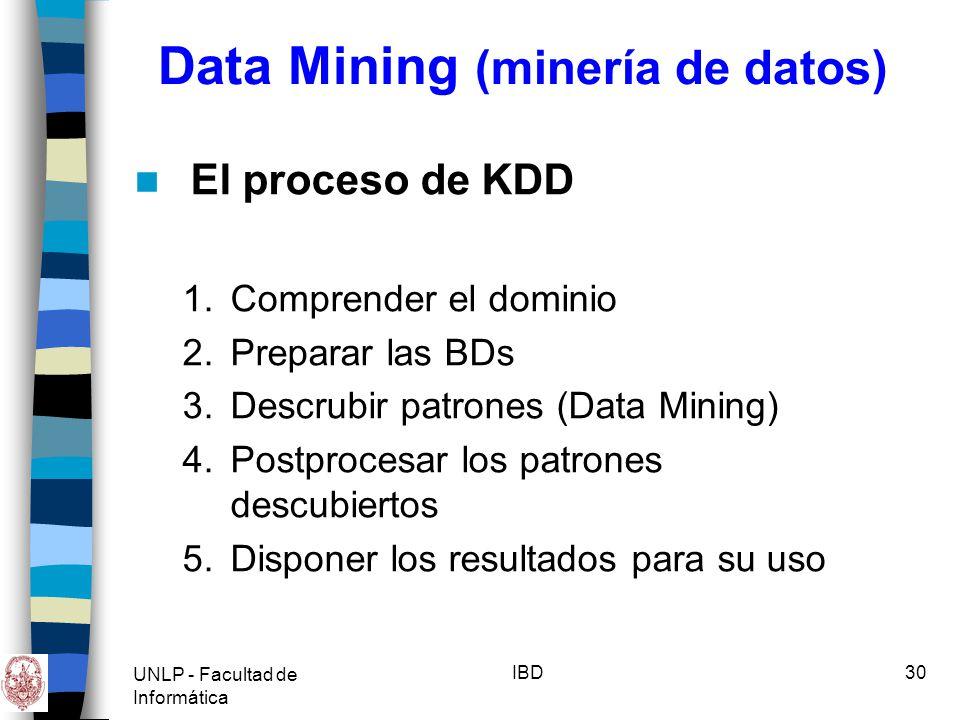UNLP - Facultad de Informática IBD31 Data Mining (minería de datos) Tipos de conocimiento descubierto durante MdD: –Reglas de asociación Correlación entre la presencia de un conjunto de elementos con otro rango de valores para otro conjunto de de variables.
