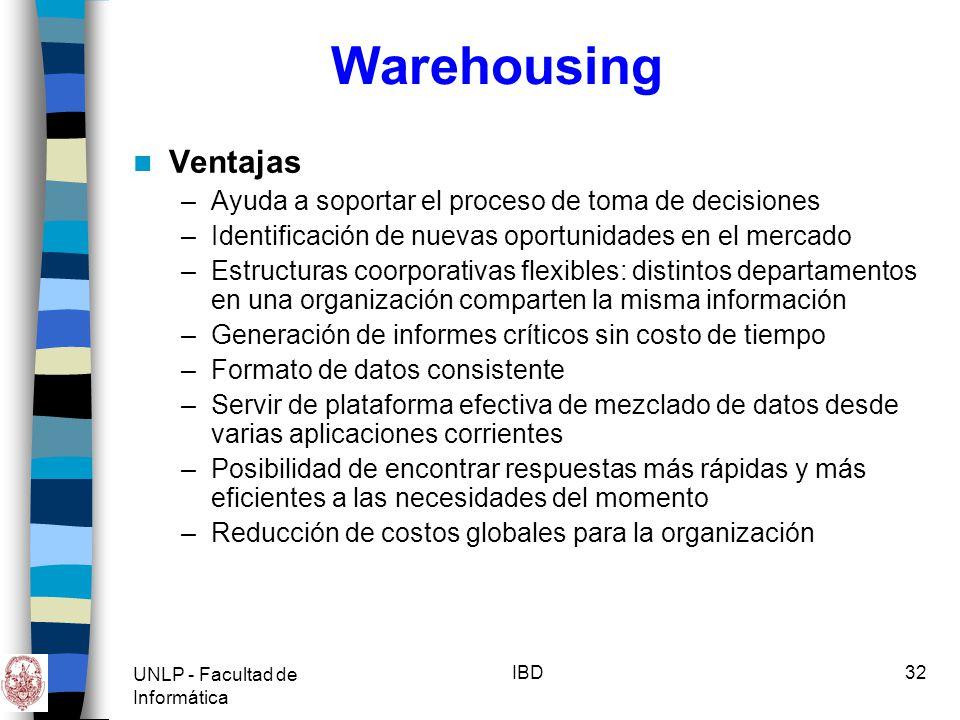 UNLP - Facultad de Informática IBD33 Warehousing Conclusiones –La necesidad de sistemas de información que permitan generar consultas, reportes y análisis para la toma de decisiones es cada día más apremiante para las empresas que quieren competir exitosamente en el mercado.