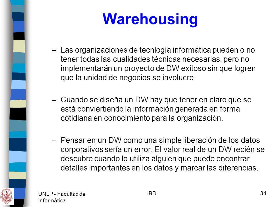 UNLP - Facultad de Informática IBD34 Warehousing –Las organizaciones de tecnlogía informática pueden o no tener todas las cualidades técnicas necesari