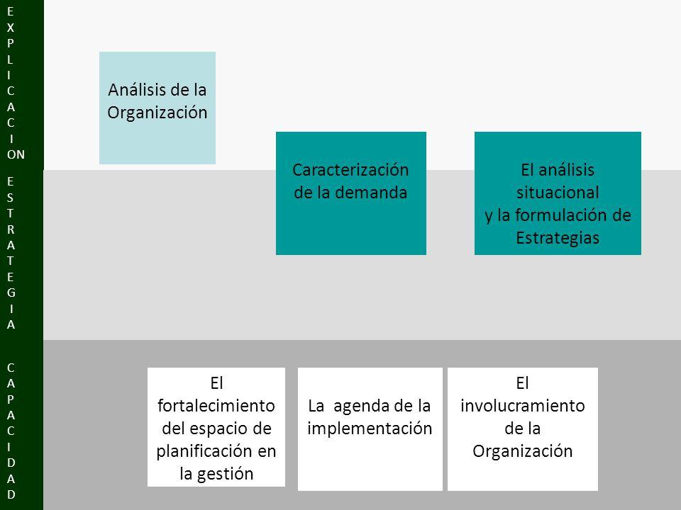 CAPACIDADCAPACIDAD E S T R A T E G I A E X P L I C A C I ON Análisis de la Organización Caracterización de la demanda El análisis situacional y la formulación de Estrategias El fortalecimiento del espacio de planificación en la gestión La agenda de la implementación El involucramiento de la Organización