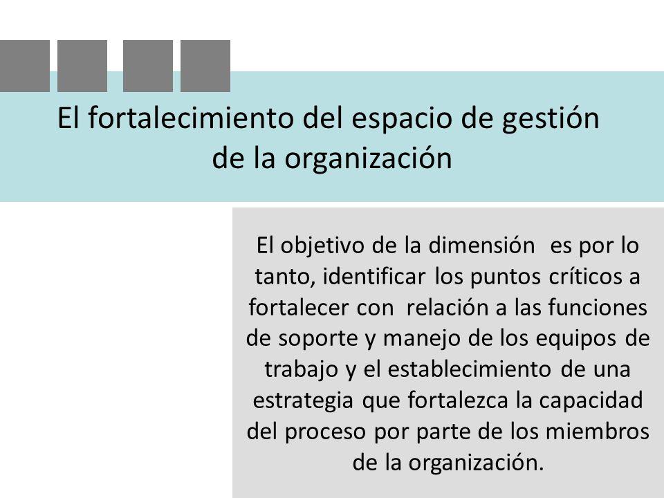 El fortalecimiento del espacio de gestión de la organización El objetivo de la dimensión es por lo tanto, identificar los puntos críticos a fortalecer con relación a las funciones de soporte y manejo de los equipos de trabajo y el establecimiento de una estrategia que fortalezca la capacidad del proceso por parte de los miembros de la organización.