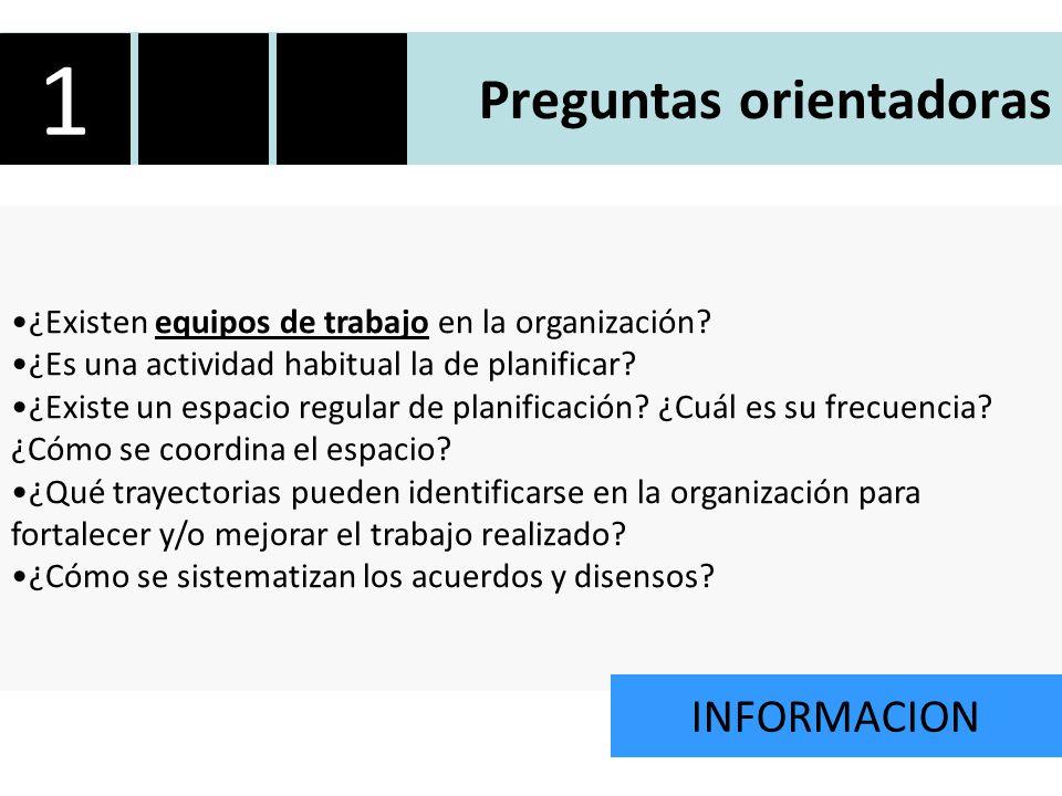 Preguntas orientadoras ¿Existen equipos de trabajo en la organización.