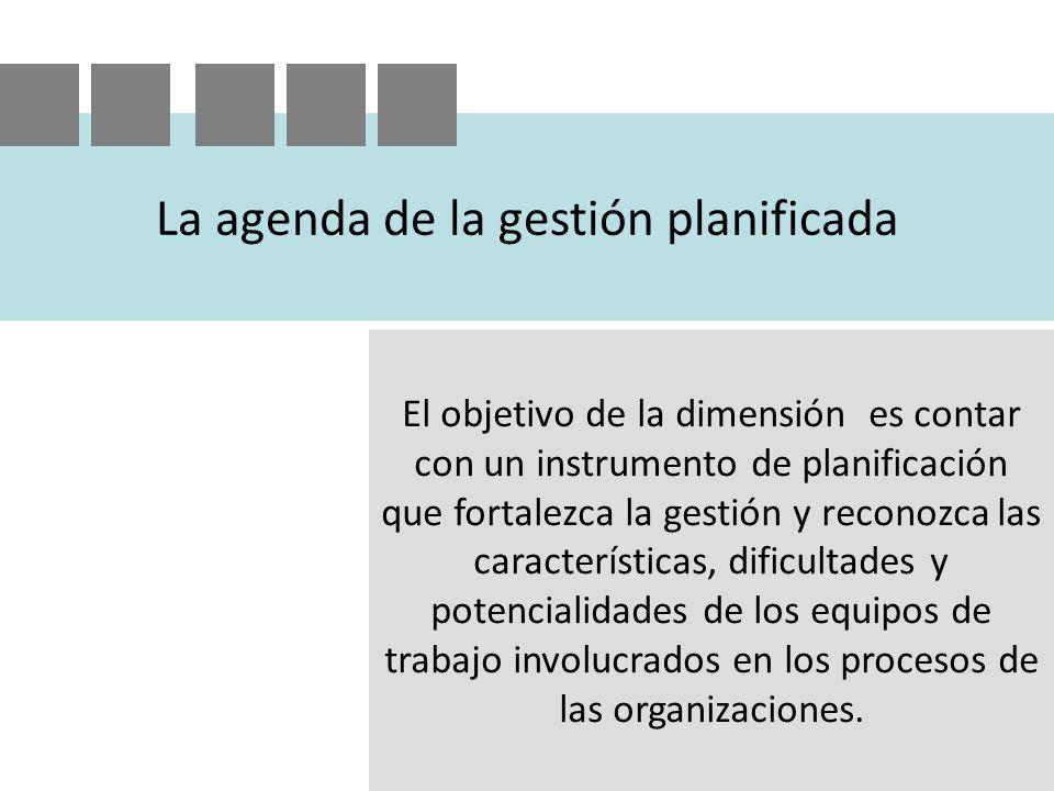 La agenda de la gestión planificada El objetivo de la dimensión es contar con un instrumento de planificación que fortalezca la gestión y reconozca las características, dificultades y potencialidades de los equipos de trabajo involucrados en los procesos de las organizaciones.