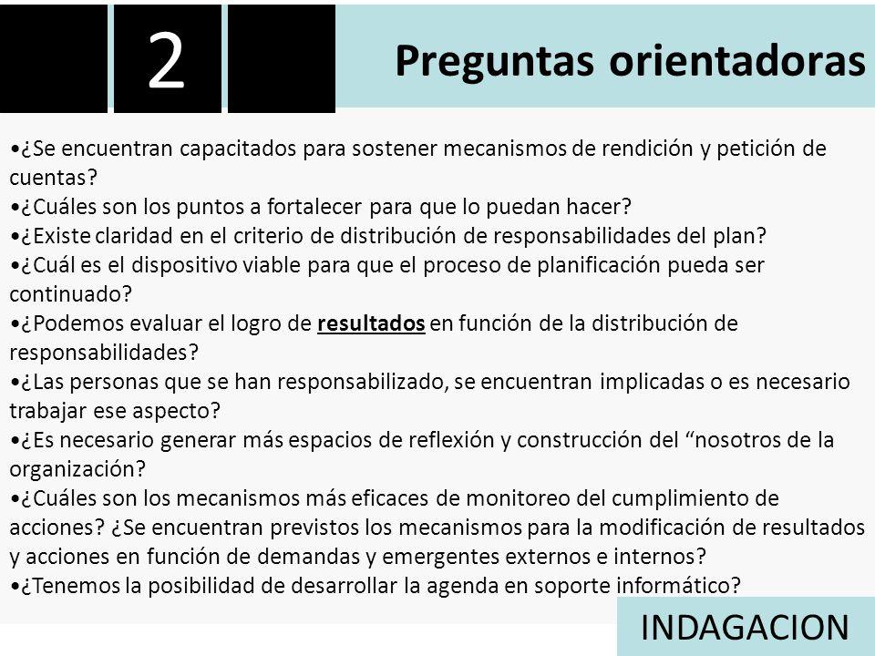 Preguntas orientadoras ¿Se encuentran capacitados para sostener mecanismos de rendición y petición de cuentas.