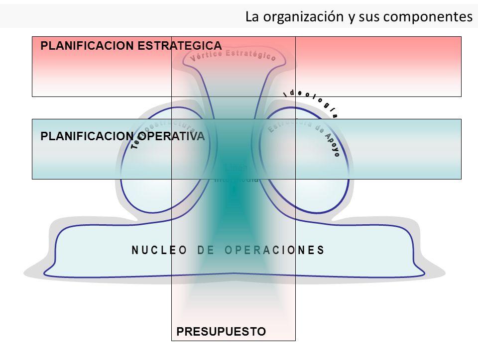La organización y sus componentes N U C L E O D E O P E R A C I O N E S Línea Intermedia PLANIFICACION ESTRATEGICA PLANIFICACION OPERATIVA PRESUPUESTO