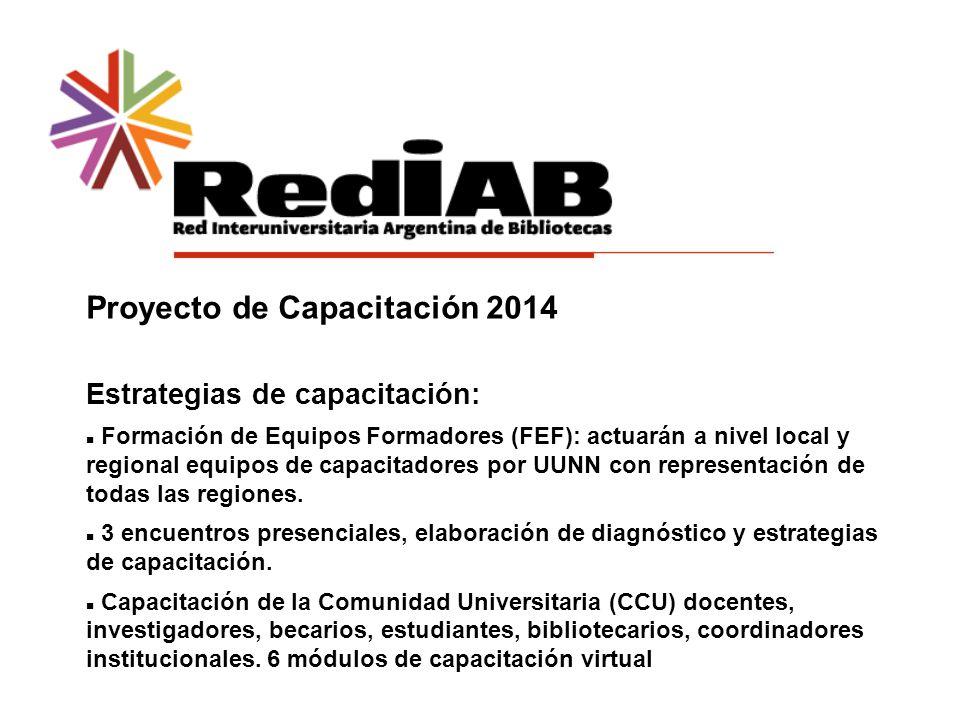 Proyecto de Capacitación 2014 Estrategias de capacitación: Formación de Equipos Formadores (FEF): actuarán a nivel local y regional equipos de capacitadores por UUNN con representación de todas las regiones.
