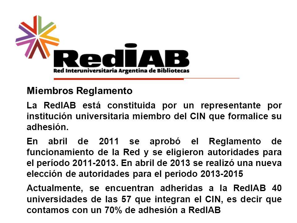 Miembros Reglamento La RedIAB está constituida por un representante por institución universitaria miembro del CIN que formalice su adhesión.