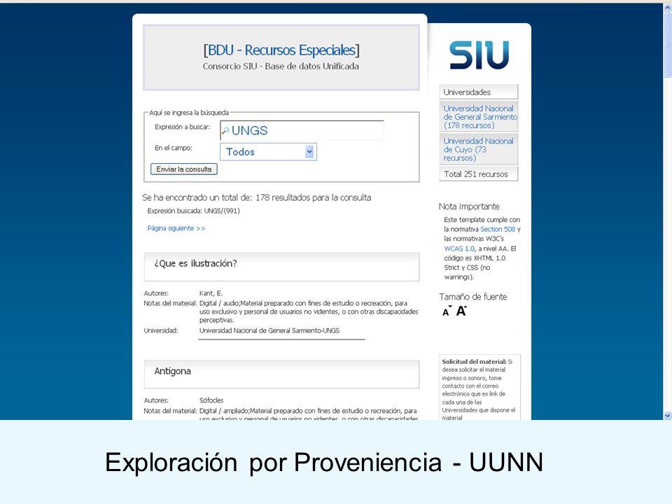Exploración por Proveniencia - UUNN