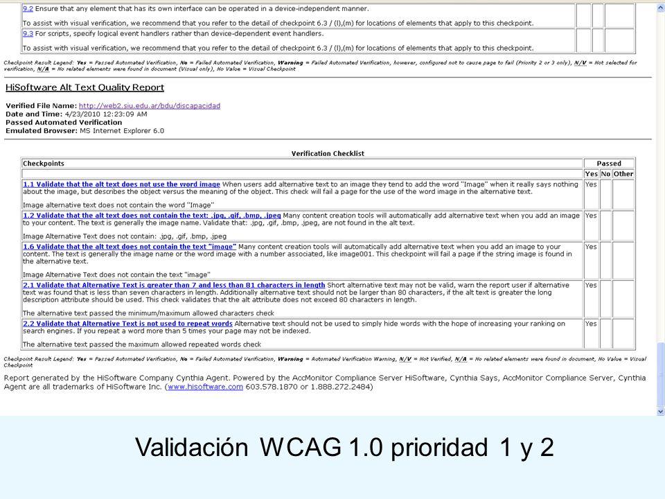 Validación WCAG 1.0 prioridad 1 y 2