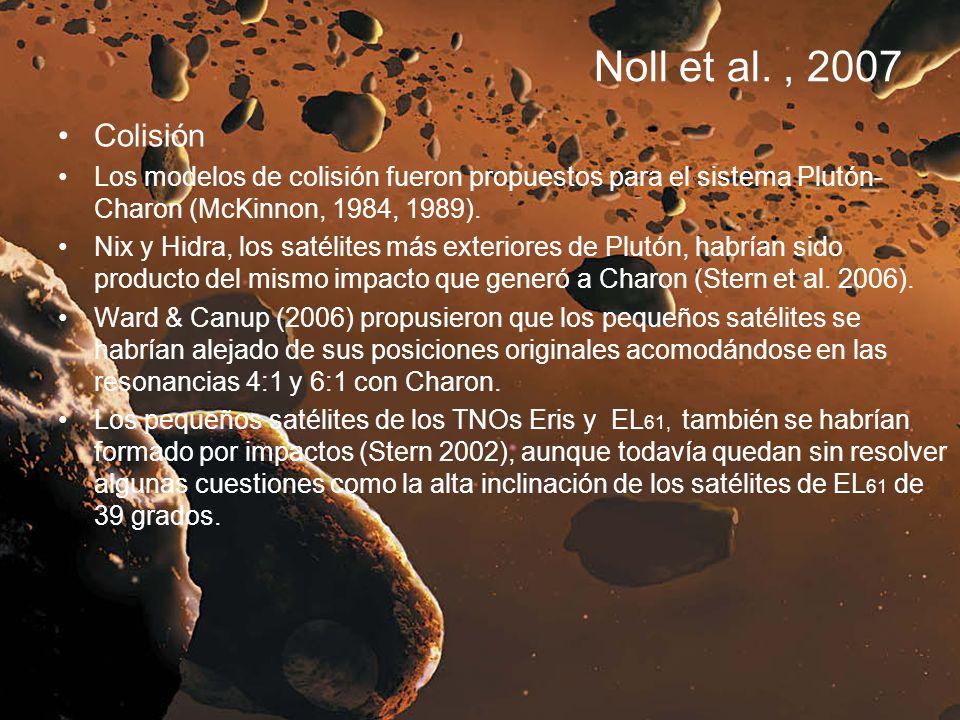 Noll et al., 2007 Colisión Los modelos de colisión fueron propuestos para el sistema Plutón- Charon (McKinnon, 1984, 1989). Nix y Hidra, los satélites