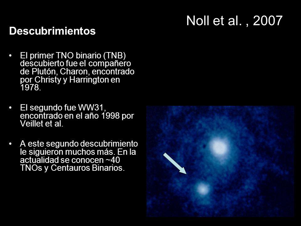 Noll et al., 2007 Descubrimientos El primer TNO binario (TNB) descubierto fue el compañero de Plutón, Charon, encontrado por Christy y Harrington en 1