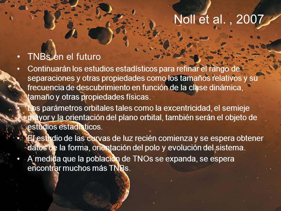 Noll et al., 2007 TNBs en el futuro Continuarán los estudios estadísticos para refinar el rango de separaciones y otras propiedades como los tamaños r