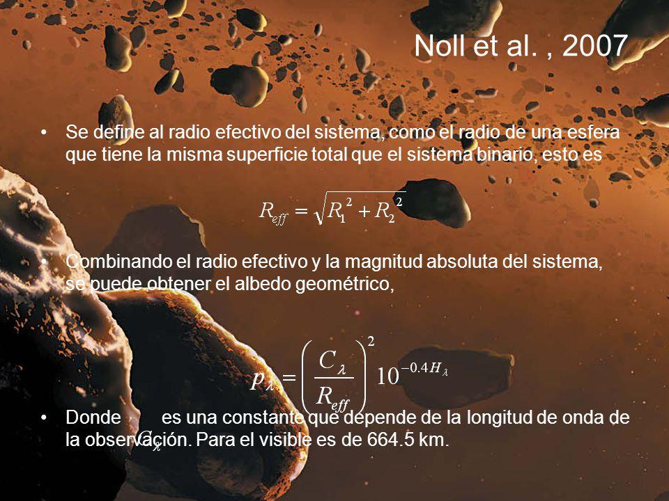 Noll et al., 2007 Se define al radio efectivo del sistema, como el radio de una esfera que tiene la misma superficie total que el sistema binario, est