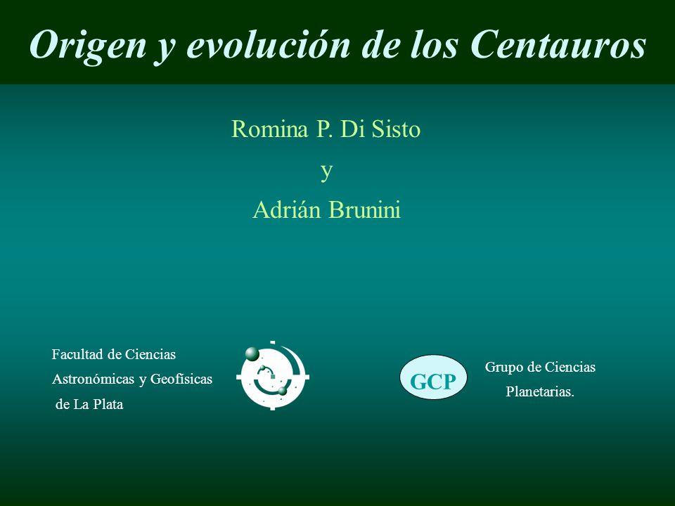Origen y evolución de los Centauros Romina P. Di Sisto y Adrián Brunini Facultad de Ciencias Astronómicas y Geofísicas de La Plata GCP Grupo de Cienci