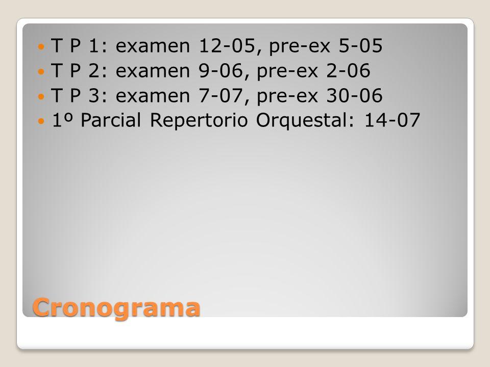 Cronograma T P 1: examen 12-05, pre-ex 5-05 T P 2: examen 9-06, pre-ex 2-06 T P 3: examen 7-07, pre-ex 30-06 1º Parcial Repertorio Orquestal: 14-07