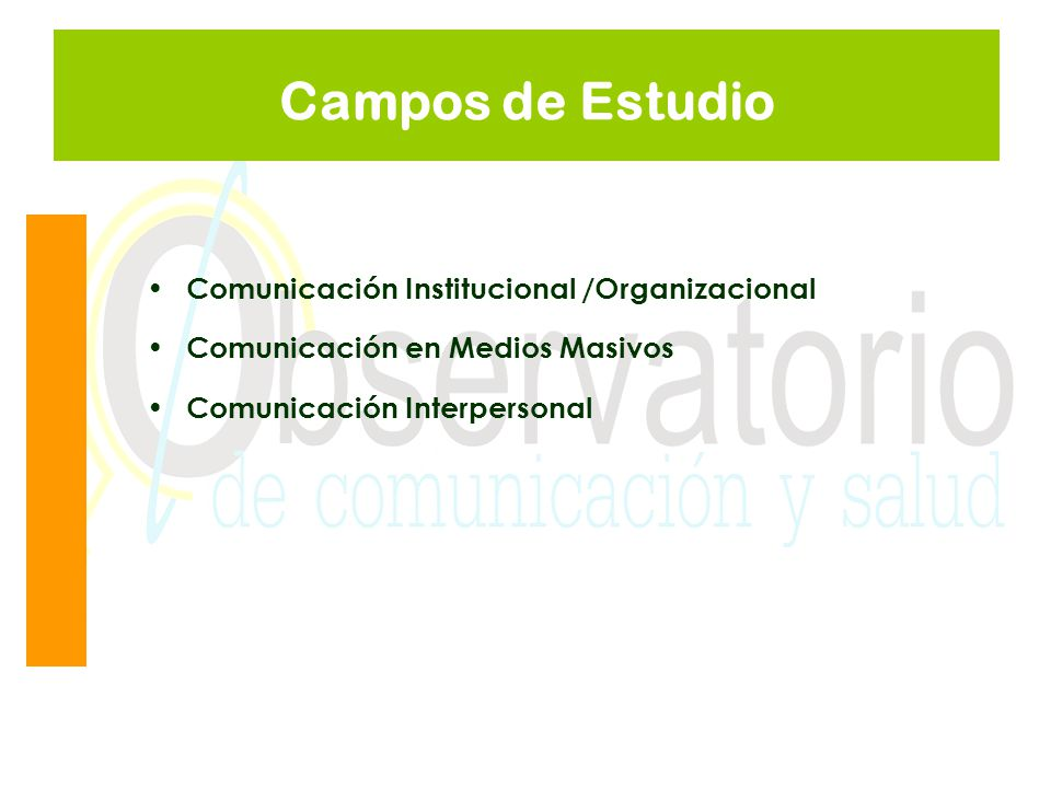 Campos de Estudio Comunicación Institucional /Organizacional Comunicación en Medios Masivos Comunicación Interpersonal