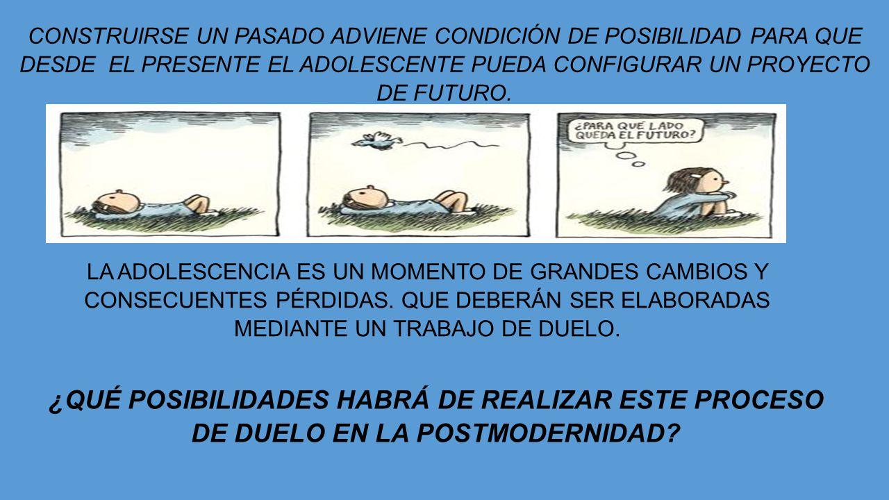 CONSTRUIRSE UN PASADO ADVIENE CONDICIÓN DE POSIBILIDAD PARA QUE DESDE EL PRESENTE EL ADOLESCENTE PUEDA CONFIGURAR UN PROYECTO DE FUTURO. LA ADOLESCENC