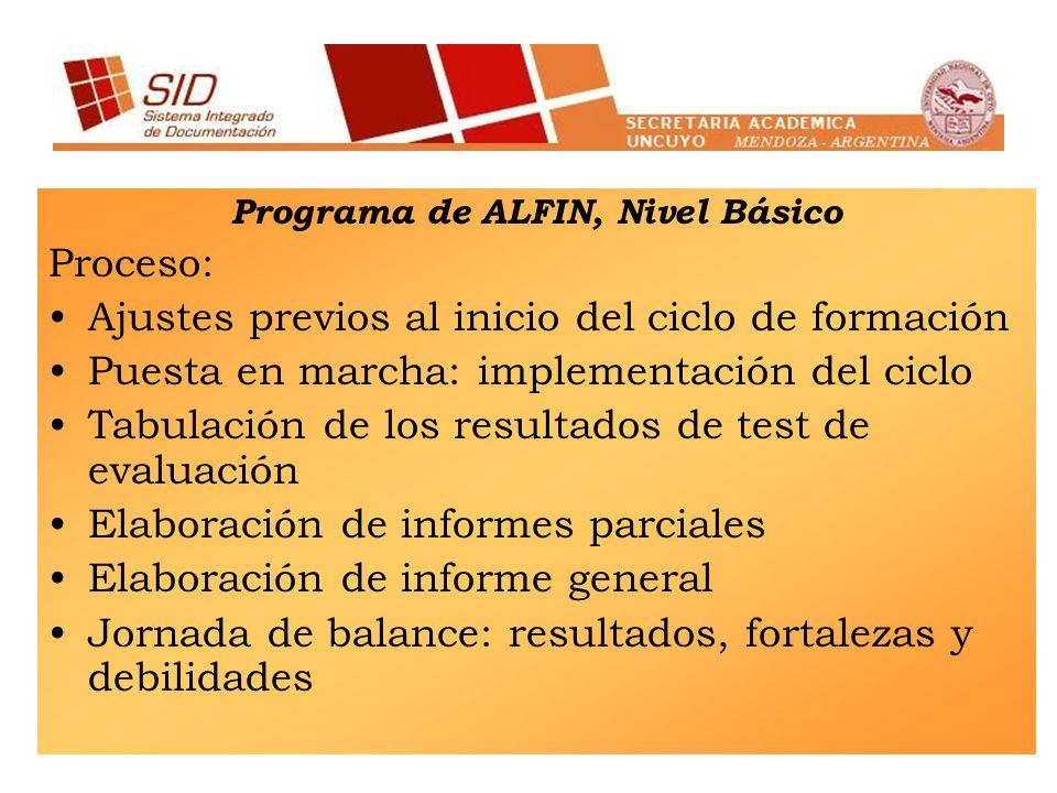 Programa de ALFIN, Nivel Básico Proceso: Ajustes previos al inicio del ciclo de formación Puesta en marcha: implementación del ciclo Tabulación de los