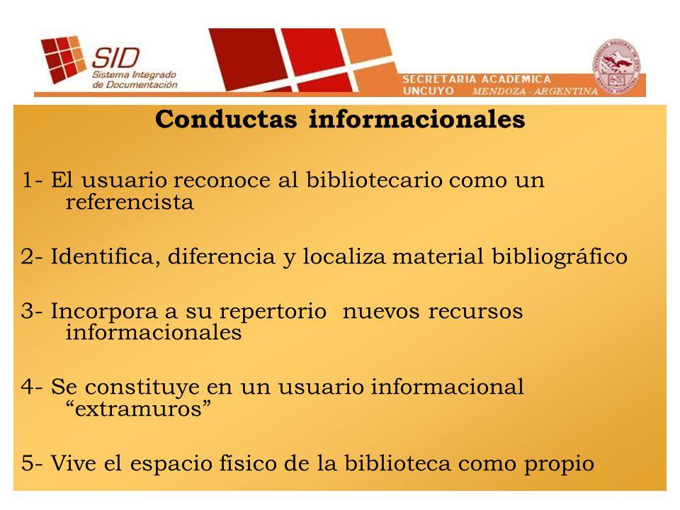 Conductas informacionales 1- El usuario reconoce al bibliotecario como un referencista 2- Identifica, diferencia y localiza material bibliográfico 3-