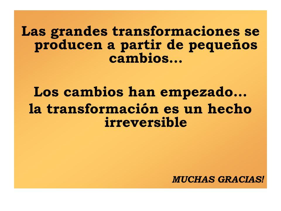 Las grandes transformaciones se producen a partir de pequeños cambios… Los cambios han empezado… la transformación es un hecho irreversible MUCHAS GRACIAS !