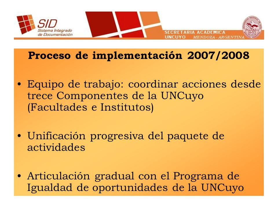 Proceso de implementación 2007/2008 Equipo de trabajo: coordinar acciones desde trece Componentes de la UNCuyo (Facultades e Institutos) Unificación progresiva del paquete de actividades Articulación gradual con el Programa de Igualdad de oportunidades de la UNCuyo