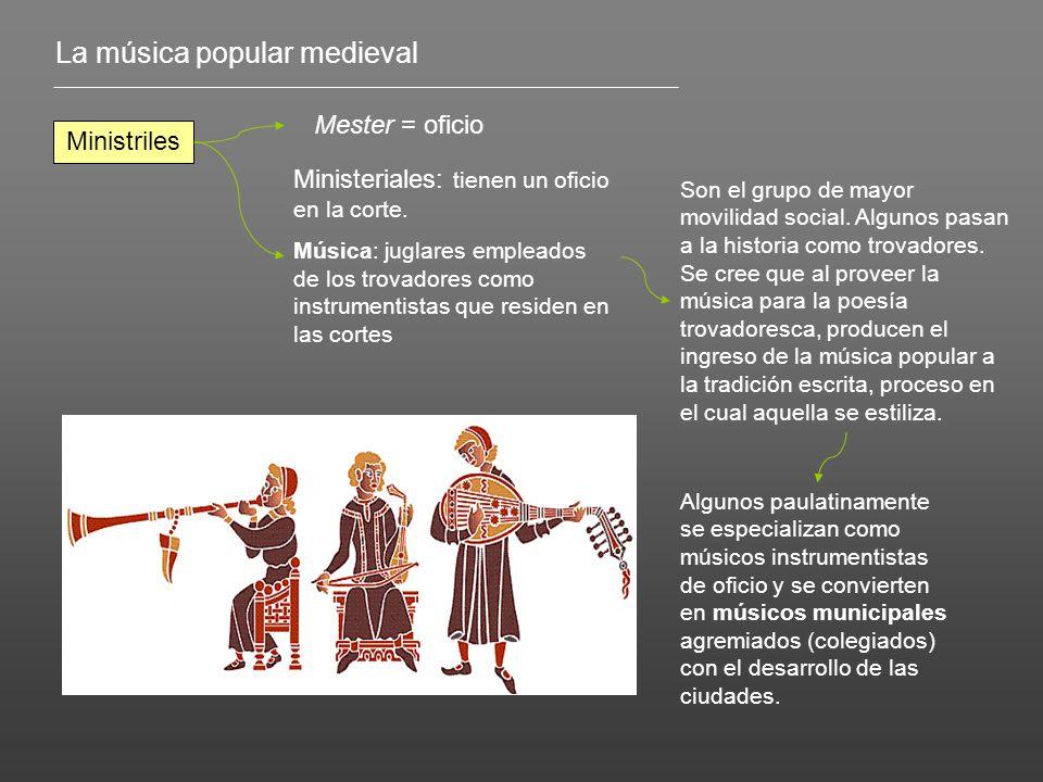 La música popular medieval Ministriles Mester = oficio Ministeriales: tienen un oficio en la corte.