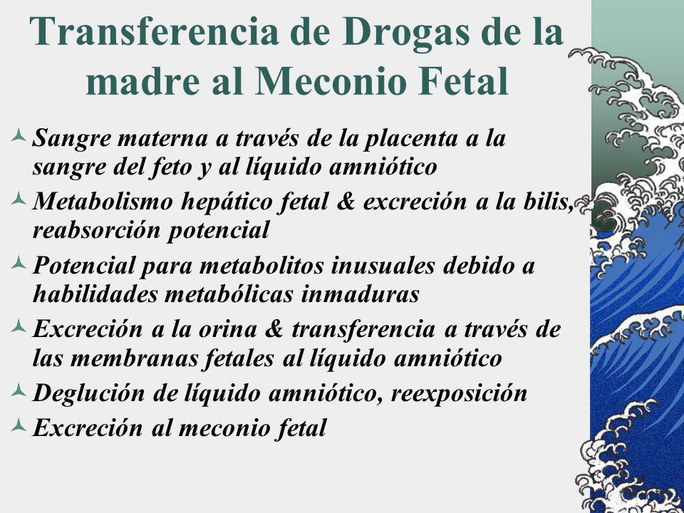 Transferencia de Drogas de la madre al Meconio Fetal Sangre materna a través de la placenta a la sangre del feto y al líquido amniótico Metabolismo he