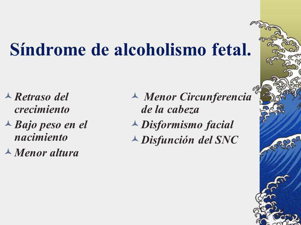Síndrome de alcoholismo fetal. Menor Circunferencia de la cabeza Disformismo facial Disfunción del SNC Retraso del crecimiento Bajo peso en el nacimie