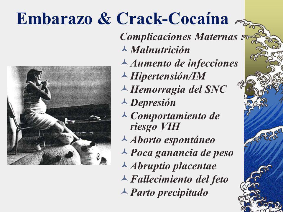 Embarazo & Crack-Cocaína Complicaciones Maternas : Malnutrición Aumento de infecciones Hipertensión/IM Hemorragia del SNC Depresión Comportamiento de