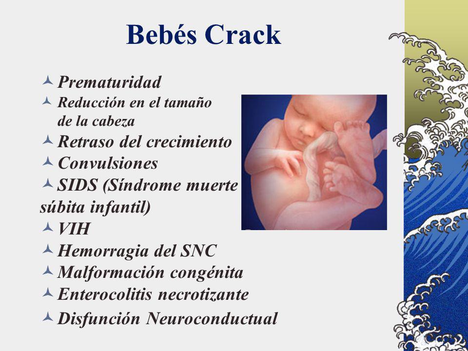 Prematuridad Reducción en el tamaño de la cabeza Retraso del crecimiento Convulsiones SIDS (Síndrome muerte súbita infantil) VIH Hemorragia del SNC Ma