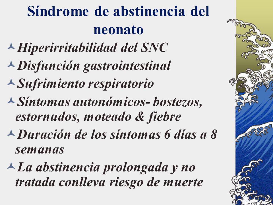 Síndrome de abstinencia del neonato Hiperirritabilidad del SNC Disfunción gastrointestinal Sufrimiento respiratorio Síntomas autonómicos- bostezos, es