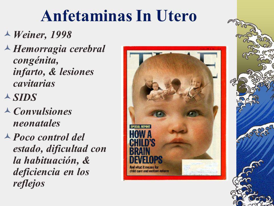 Anfetaminas In Utero Weiner, 1998 Hemorragia cerebral congénita, infarto, & lesiones cavitarias SIDS Convulsiones neonatales Poco control del estado,