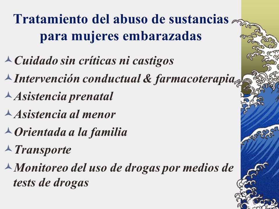 Tratamiento del abuso de sustancias para mujeres embarazadas Cuidado sin críticas ni castigos Intervención conductual & farmacoterapia Asistencia pren