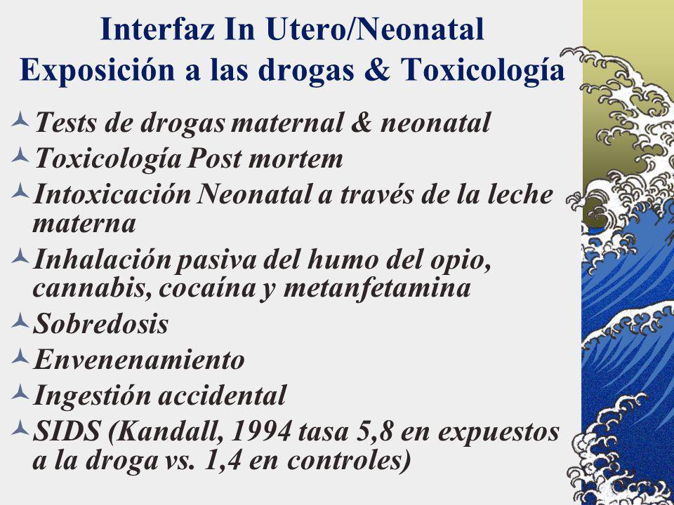 Interfaz In Utero/Neonatal Exposición a las drogas & Toxicología Tests de drogas maternal & neonatal Toxicología Post mortem Intoxicación Neonatal a t