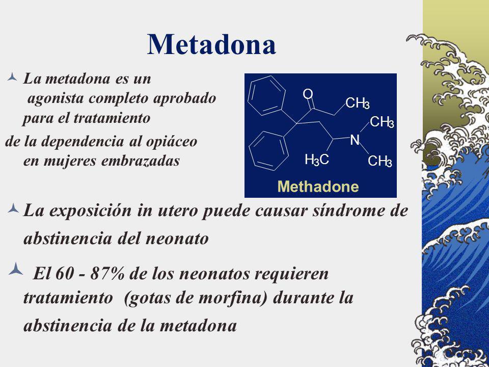 Metadona CH 3 N O H 3 C 3 3 Methadone La metadona es un agonista completo aprobado para el tratamiento de la dependencia al opiáceo en mujeres embraza