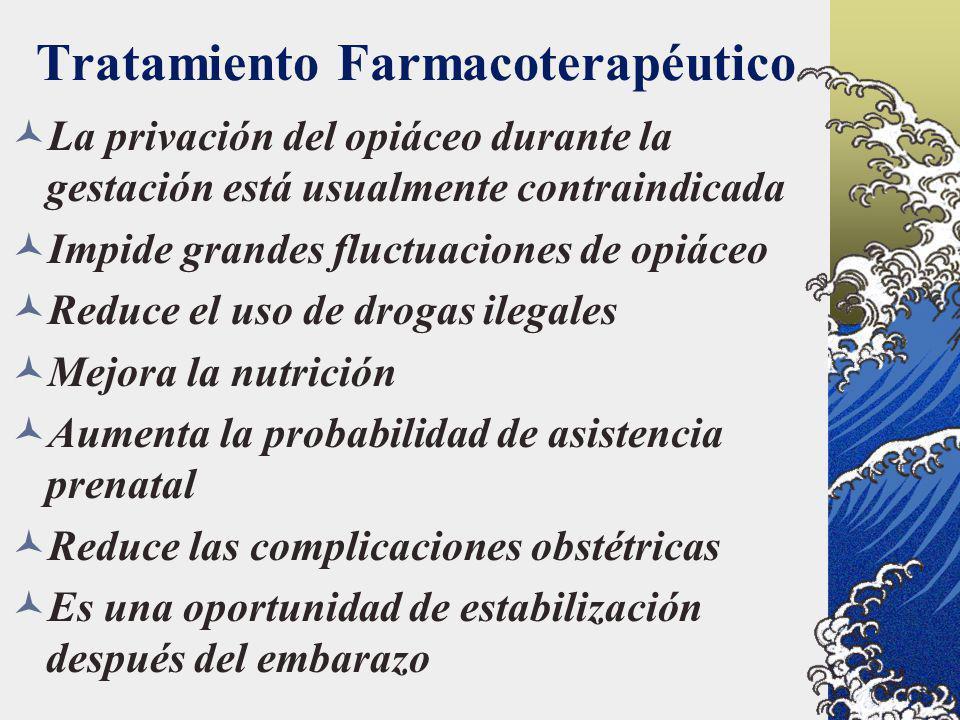 Tratamiento Farmacoterapéutico La privación del opiáceo durante la gestación está usualmente contraindicada Impide grandes fluctuaciones de opiáceo Re