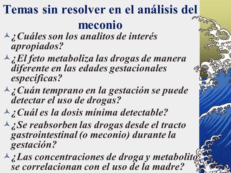 Temas sin resolver en el análisis del meconio ¿Cuáles son los analitos de interés apropiados? ¿El feto metaboliza las drogas de manera diferente en la