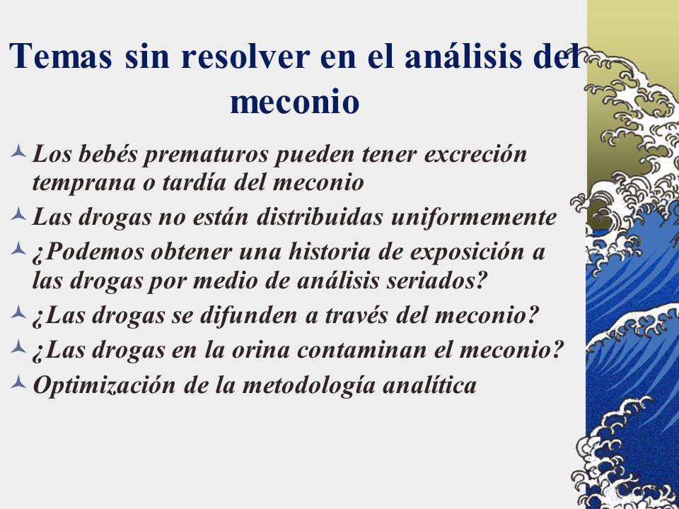 Temas sin resolver en el análisis del meconio Los bebés prematuros pueden tener excreción temprana o tardía del meconio Las drogas no están distribuid