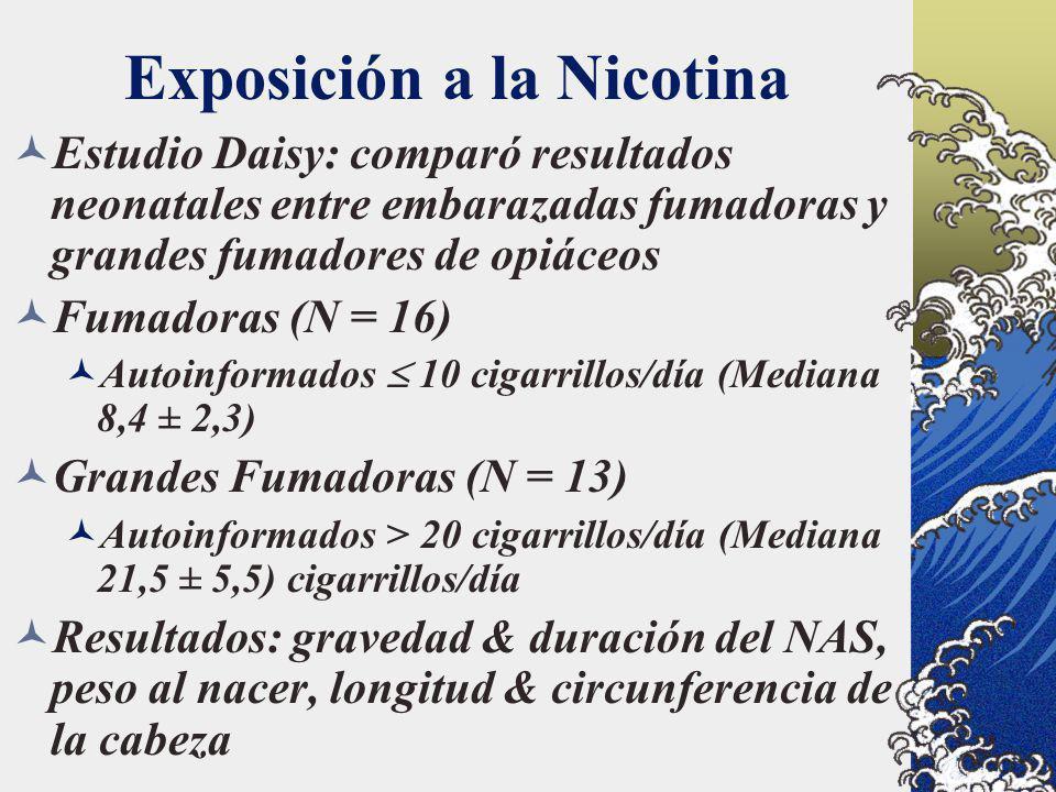 Exposición a la Nicotina Estudio Daisy: comparó resultados neonatales entre embarazadas fumadoras y grandes fumadores de opiáceos Fumadoras (N = 16) A