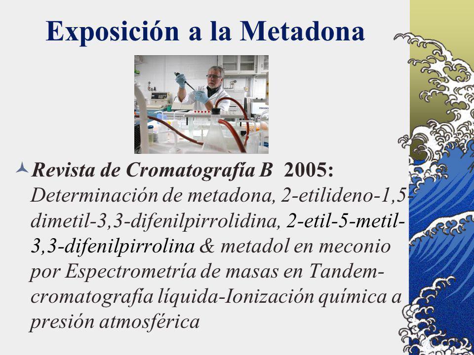 Exposición a la Metadona Revista de Cromatografía B 2005: Determinación de metadona, 2-etilideno-1,5- dimetil-3,3-difenilpirrolidina, 2-etil-5-metil-