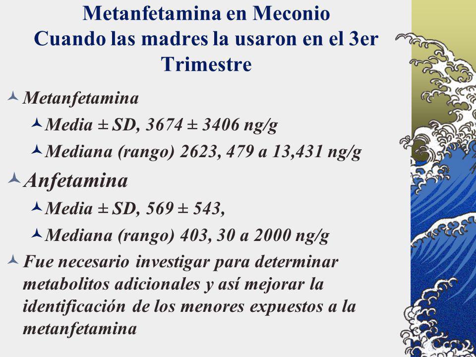 Metanfetamina en Meconio Cuando las madres la usaron en el 3er Trimestre Metanfetamina Media ± SD, 3674 ± 3406 ng/g Mediana (rango) 2623, 479 a 13,431