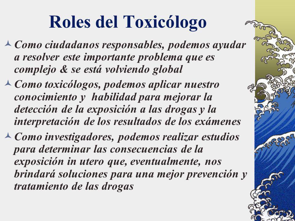 Roles del Toxicólogo Como ciudadanos responsables, podemos ayudar a resolver este importante problema que es complejo & se está volviendo global Como