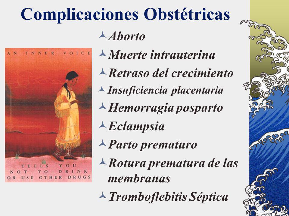 Complicaciones Obstétricas Aborto Muerte intrauterina Retraso del crecimiento Insuficiencia placentaria Hemorragia posparto Eclampsia Parto prematuro