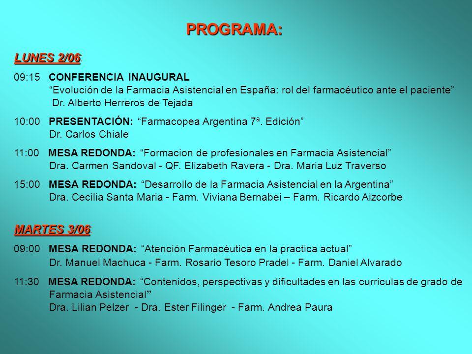 PROGRAMA: LUNES 2/06 LUNES 2/06: 09:15 CONFERENCIA INAUGURAL Evolución de la Farmacia Asistencial en España: rol del farmacéutico ante el paciente Dr.