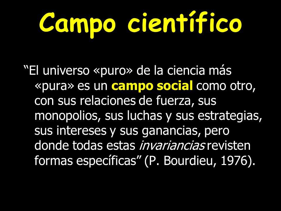 Campo científico El universo «puro» de la ciencia más «pura» es un campo social como otro, con sus relaciones de fuerza, sus monopolios, sus luchas y